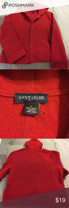"""Ann Taylor 100% Wool Red Sweater Jacket with hood Beautiful and warm!  Ann Taylor size large 100% wool sweater/jacket with hood; button down front and lined pockets; EUC and barely worn; length from shoulder to bottom is 24""""; arm length is 25"""" with a cuff;  make an offer! Ann Taylor Sweaters"""