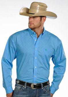 Panhandle Slim Select Mens Long Sleeve Print Button Down Shirt - Blue $38.97