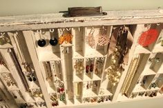 Printer's Drawers made into Jewelry stands...wonderful...need one!