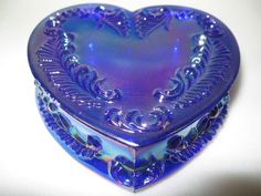 Cobalt Blue carnival glass heart pattern powder jewelry box