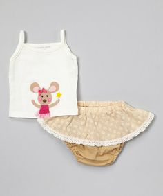 Off-White Mouse Tank & Beige Ruffle Diaper Cover - Infant by Victoria Kids #zulily #zulilyfinds