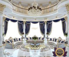 Villa design in Kuwait Mansion Interior, Luxury Homes Interior, Living Room Interior, Luxury Rooms, Luxury Home Decor, Luxury Living, Royal Room, Luxury Homes Dream Houses, Dream Homes