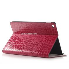 Crocodile Wallet Leather Case Cover with Card Slots for iPad Pro 12.9 Inch - Rose
