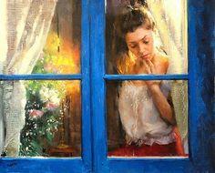 window - blue - Pittura di Vicente Romero Redondo