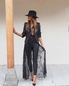 Chic all black leather and lace.