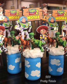 Toy Story theme table centerpieces for Noah birthday party .🎉🎊🎉🎊🎉🎊 Music Toy Story -You've Got a Friend in Me artist Randy Newman . Woody Birthday Parties, 2nd Birthday Boys, 2nd Birthday Party Themes, Toy Story Birthday, Birthday Party Centerpieces, Cowboy Birthday, Cowboy Party, Toy Story Baby, Toy Story Theme