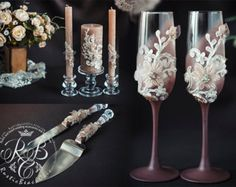 Lace wedding set, toasting glasses, unity candles, set for cake, votive candles, caramel, crystal,flowers, flutes, cake accessories, 7 pcs Personalization 0-no personalization, 1-engraving glasses, 2-engraving set cake, 3-engraving all set.  Engraving of our products is done manually Example of engraving you can see the following link: https://www.etsy.com/ru/listing/237253588/add-engraving-on-a-set-for-cake?ref=shop_home_active_2 https://www.etsy....