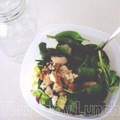 Salad du jour! Spinach, romaine, chicken, red onion, feta, walnuts, craisins and my giant water jar. #tiumeals #Padgram