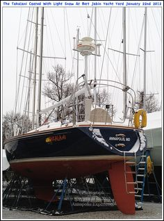 The sailboat Takalani on boat jacks at the Bert Jabin Yacht Yard after a light snow in Annapolis Maryland. Photograph taken on January 22nd 2012. To see a full size version of this photograph, as well as the accompanying Annapolis Experience Blog article, please click through on the Pinterest images for it. Copyright © 2012 Annapolis Experience