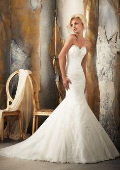Mermaid Sweetheart Tulle Court Train Wedding Dress