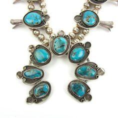 Vintage Squash Blossom Necklace w/ Turquoise