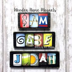 Name Magnet  Custom Wooden Refrigerator by LettersOfLoveDesigns