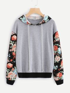 Shop Floral Sleeve And Hood Heather Knit Sweatshirt online. SheIn offers Floral Sleeve And Hood Heather Knit Sweatshirt & more to fit your fashionable needs. Pullover Designs, Blouse Designs, Beautiful Outfits, Cool Outfits, Fashion Outfits, Trendy Hoodies, Floral Sleeve, Character Outfits, Sweater Hoodie