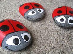 Cute ladybug painted rocks ideas #ladybug #ladybugpaintedrocks #paintedrock #ladybugart #ladybugrock