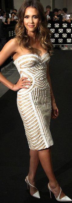 Jessica Alba: Shoes – Christian Louboutin  Dress – Zuhair Murad