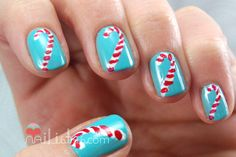 Nailistas: #2: Uñas decoradas con bastones de caramelo // Reto Oh! Oh! Oh!