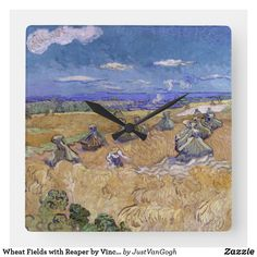 67bd8b7c5da Wheat Fields with Reaper by Vincent Van Gogh Square Wall Clock Campos De  Trigo