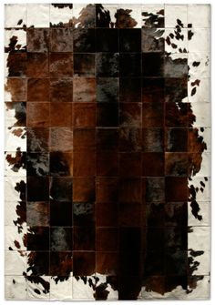 """The Park Corbu rug is a manifesto of simplicity and excellence. Each 8"""" square of cowhide has been individually selected for its vibrancy and depth of color, and painstakingly hand-stitched together with a high resistant cotton ribbon. The result is a pattern play of geometric harmony."""
