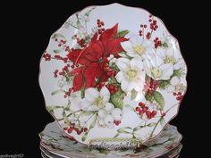 222 Fifth Winter Harmony * 3 SALAD PLATES * Christmas Poinsettias & Flowers NEW #222Fifth