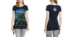 #Desigual Shirt - Modell Malvina, Muster:  floral, Textprints, schwarz.