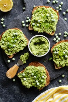 Move over avocado, these smashed pea toasts are stealing the show! Smashed pea and lemon spread paired with fresh garnishes. Perfect for a a fun snack, appetizer, breakfast, or light meal. Avocado Toast, Smashed Avocado, Sweet Potato Hummus, Vegan Recipes, Cooking Recipes, Avocado Recipes, Brunch Recipes, Savory Breakfast, Protein Breakfast