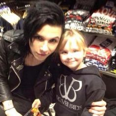 This is adorable! Andy Biersack with a little fan :)