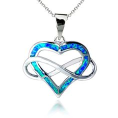 """Opal View Sterling Silver Created Blue Opal Infinity Open Heart Pendant Necklace, 18"""" *** Tried it! Love it! Click the image. : Gifts for dad"""