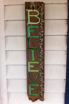 Holiday signs for decorating. The green Believe.  www.barnwords.com