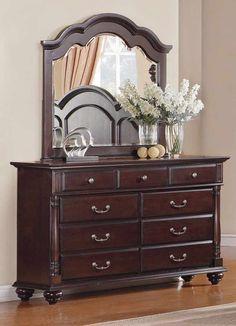 Homelegance Townsford 9 Drawer Dresser w/ Mirror in Dark Cherry Brown Furniture, Bedroom Furniture, Home Furniture, Kitchen Furniture, Cheap Furniture, Bedroom Vanity Set, Bedroom Drawers, Glass Dresser, Dresser With Mirror