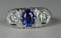 Amazing 3 Stone Art Deco Sapphire and Diamond Ring