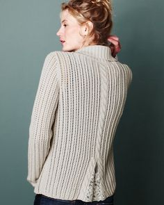 Wow...inspiration only...Design Detail | Cable and Lace Cardigan - make a boxy sweater have v-shape insert