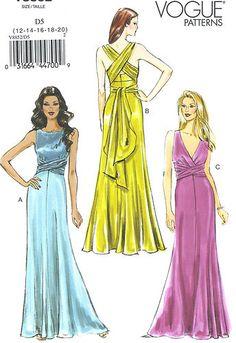 Misses Lined Evening Dress Sewing Pattern Straps Sash Raised Waist Vogue 8852 | eBay