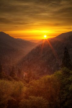 The sunrises around here are amazing! The Great Smoky Mountains are the perfect place to travel.