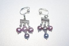 Blue and Purple Pearl Clip On Earrings via Etsy