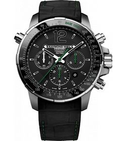 RAYMOND WEIL Genève > Nabucco 7850-TIR-05217 Mens Watches - Steel and titanium Black dial with black ceramic bezel, green hands | RAYMOND WEIL Genève Luxury Watches > Swiss Luxury Watches
