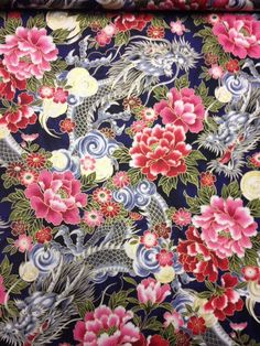 CS250 Dragons Asian Flowers Tattoo Japanese Art Cotton Fabric Quilt Fabric | eBay