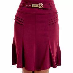 moda evangélica - saia recortes vinho - via tolentino