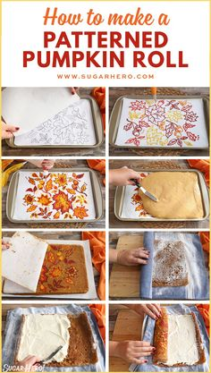 How to make a patterned pumpkin roll-- the BEST fall dessert ever! Super impressive and so pretty for your Thanksgiving table! How to make a patterned pumpkin roll-- the BEST fall dessert ever! Super impressive and so pretty for your Thanksgiving table! Pecan Desserts, Mini Desserts, Holiday Desserts, Delicious Desserts, Autumn Desserts, Pumpkin Recipes, Fall Recipes, Holiday Recipes, Fall Baking
