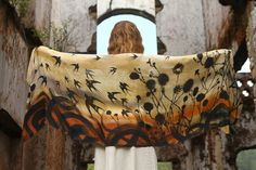 Silk Cotton Swallows  Scarf Hand painted sprinted by Shovava, $68.00