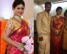Sneha Pink Gold Work Kanchi Sari | Saree Blouse Patterns