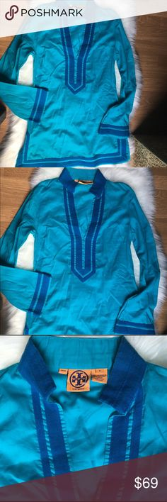 💙NEW TORY BURCH AUQA TUNIC TOP, 6💙 💙BRAND NEW, NWOT. TORY BURCH AUQA TUNIC WITH TURQUOISE TRIM. SIDE SLITS. BELL SLEEVES. SIDE ZIP ENTRY. COLOR IS LIGHTER IN PERSON THEN PICS DEPICT. GORGEOUS!  SIZE 6. THIS WAS A GIFT FOR MY DAUGHTERS GRADUATION BUT IT IS TOO SMALL. A $325 VALUE💙 Tory Burch Tops Tunics