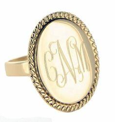 Large Goldtone Braided Oval Monogram Ring - girlytwirly.com
