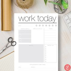 Instant Download Printable Planner Daily Work - Black and White Instant Planner insert includes 4 sizes: A4, A5, Letter & Half Letter   #535
