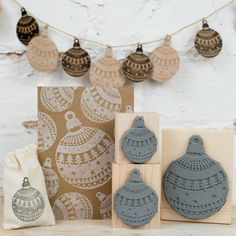 christmas pattern bauble rubber stamp by skull and cross buns | notonthehighstreet.com