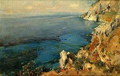 Giuseppe Casciaro(Italian, 1863?-1943?) Il Mare di Capri Oil on canvas