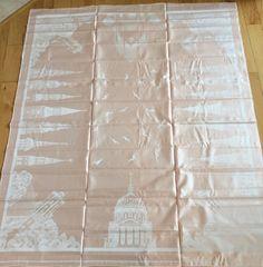 RARE Vintage IRISH Linen Damask DANSK Pink Churches Towers Figural Tablecloth
