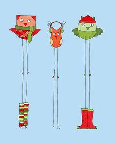 'Christmas Owls in Winter' by Angela Traunig of Ferntree Studio