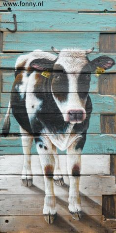 / Cow on a wooden partition - 68 x 136 cm | cow | animals | painting | old wood | door | farm |