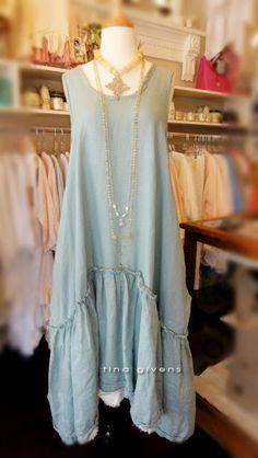 tina givens couture Prairie linen dress