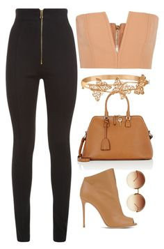 Brown & Black Leather by carolineas on Polyvore featuring polyvore, fashion, style, Balmain, Casadei, Maison Margiela, Allurez, Linda Farrow and clothing